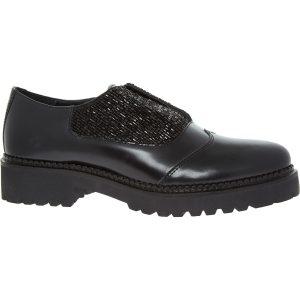 Black Embellished Slip On Leather Brogues