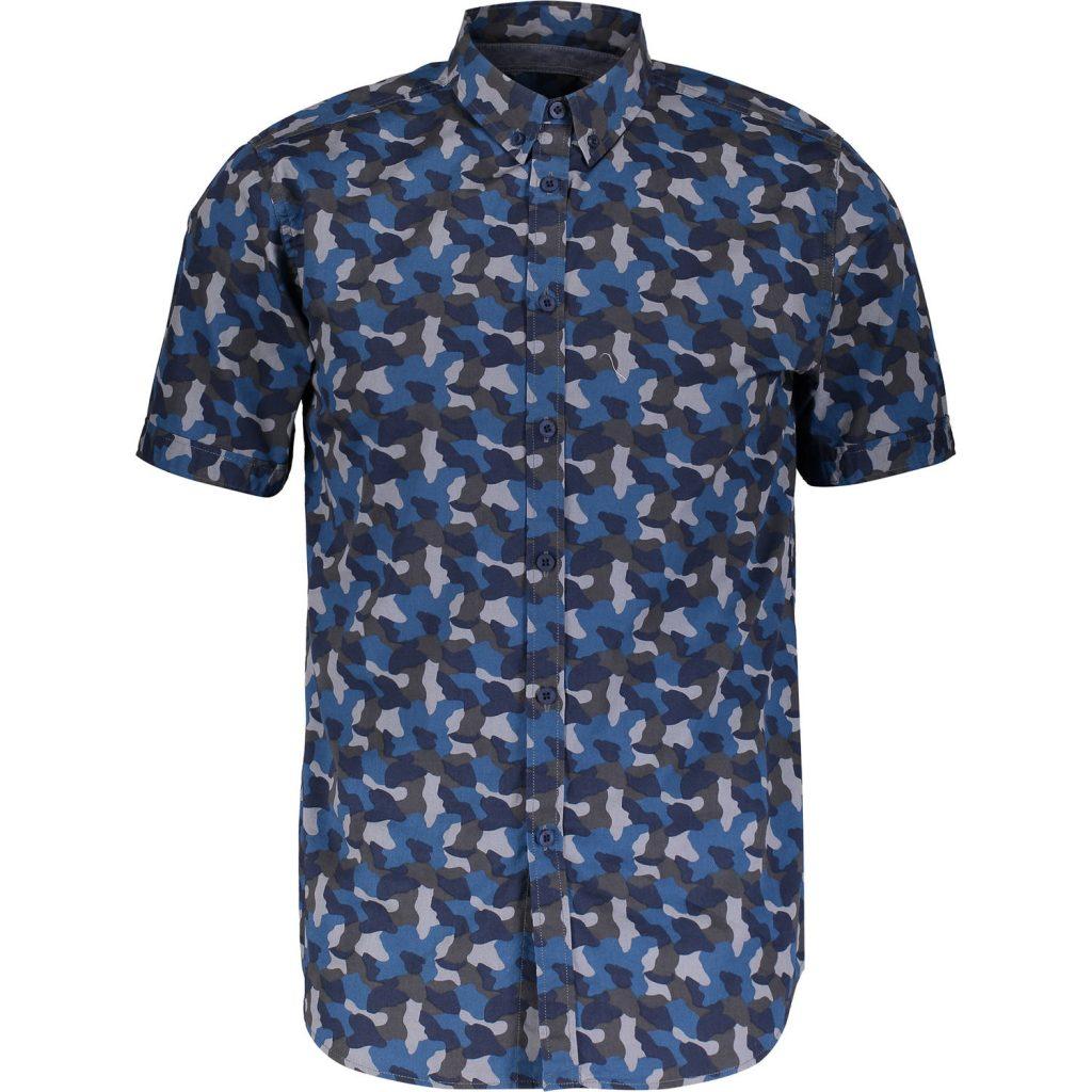 Blue & Grey Camo Print Short Sleeve Shirt
