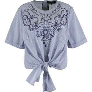 Blue & White Embroidered Floral Tie Top