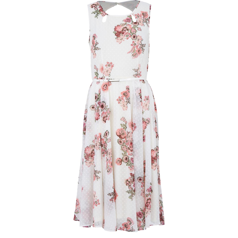 Cream & Pink Floral Midi Dress